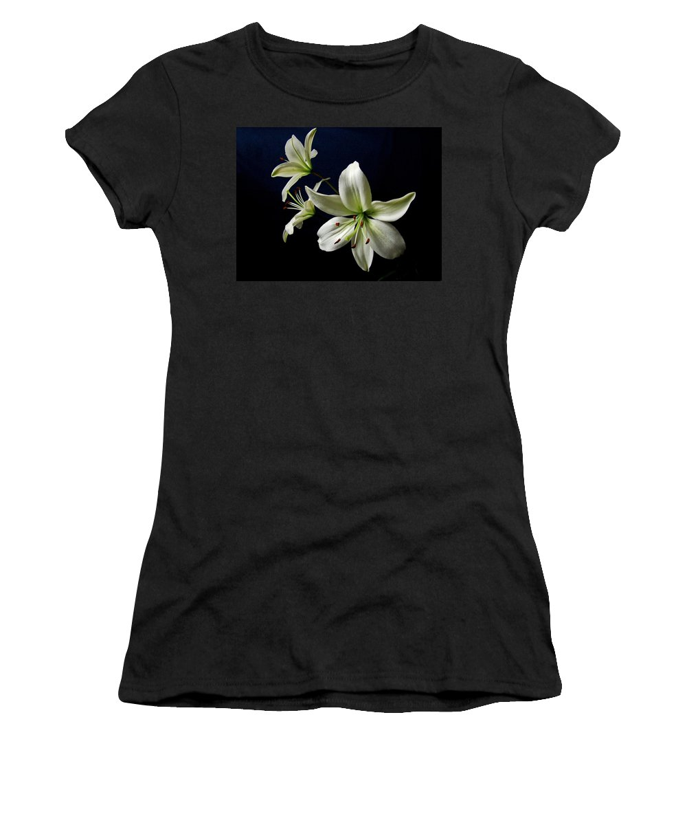 White Lilies Women's T-Shirt featuring the photograph White Lilies On Blue by Sandy Keeton
