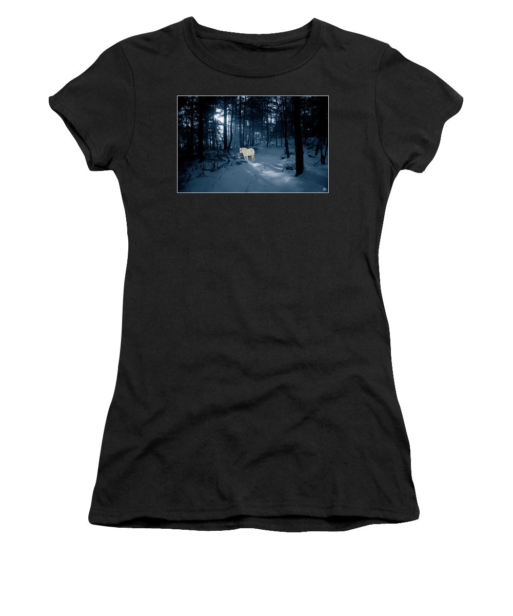 Pony Women's T-Shirt featuring the photograph Spirit Pony In A Blue Wood by Wayne King