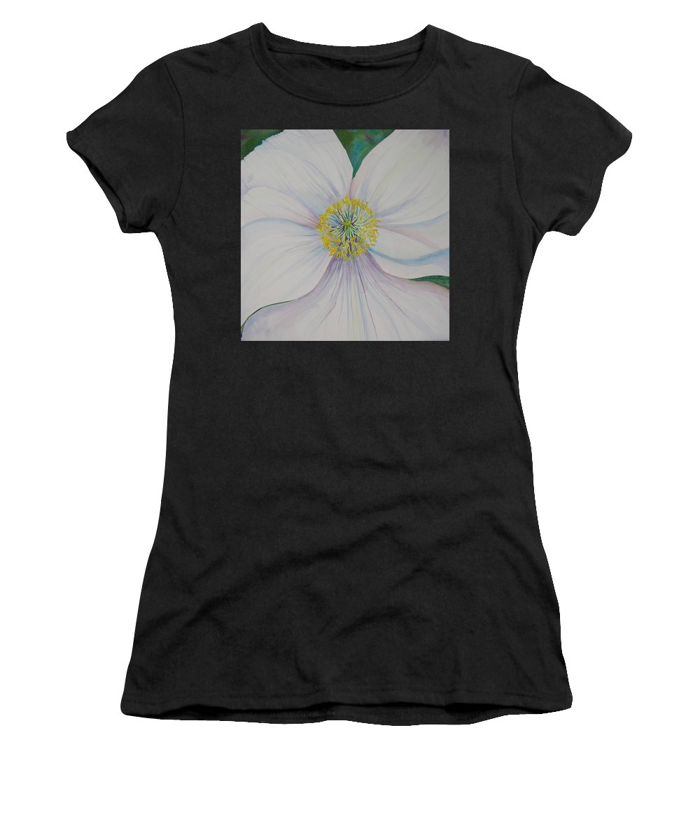 Poppy Women's T-Shirt (Athletic Fit) featuring the painting White Poppy by Anna Penny
