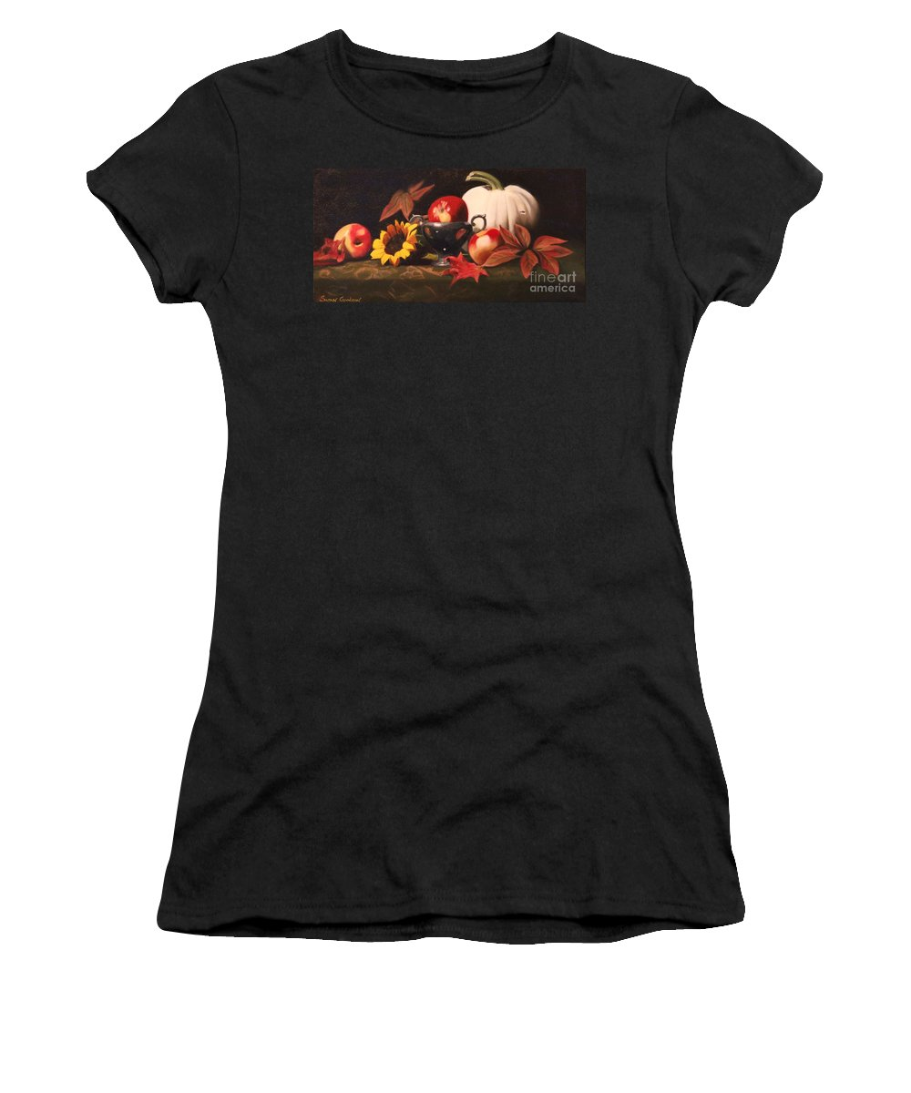 Fall White Pumpkin Sunflower Apple Fall Leaves Women's T-Shirt (Athletic Fit) featuring the painting White Pumpkin Still Life by Susan Goodson
