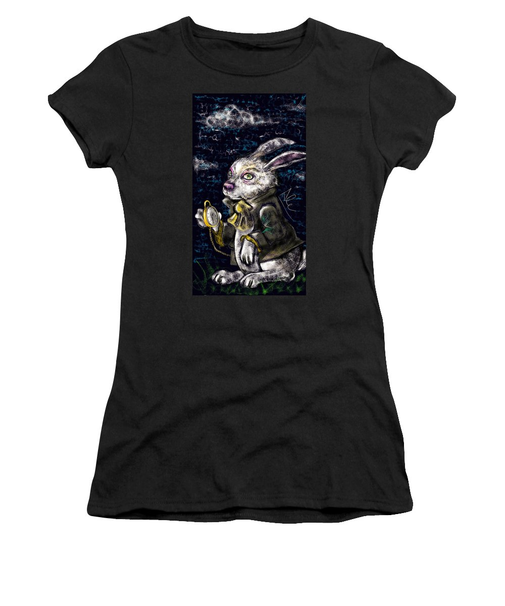 White Rabbit Women's T-Shirt featuring the drawing White Rabbit by Alessandro Della Pietra
