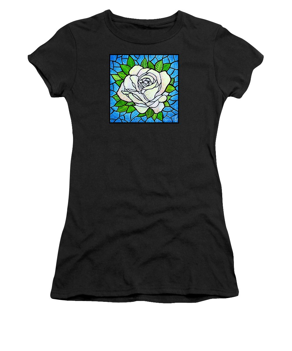 White Women's T-Shirt featuring the painting White Rose by Jim Harris