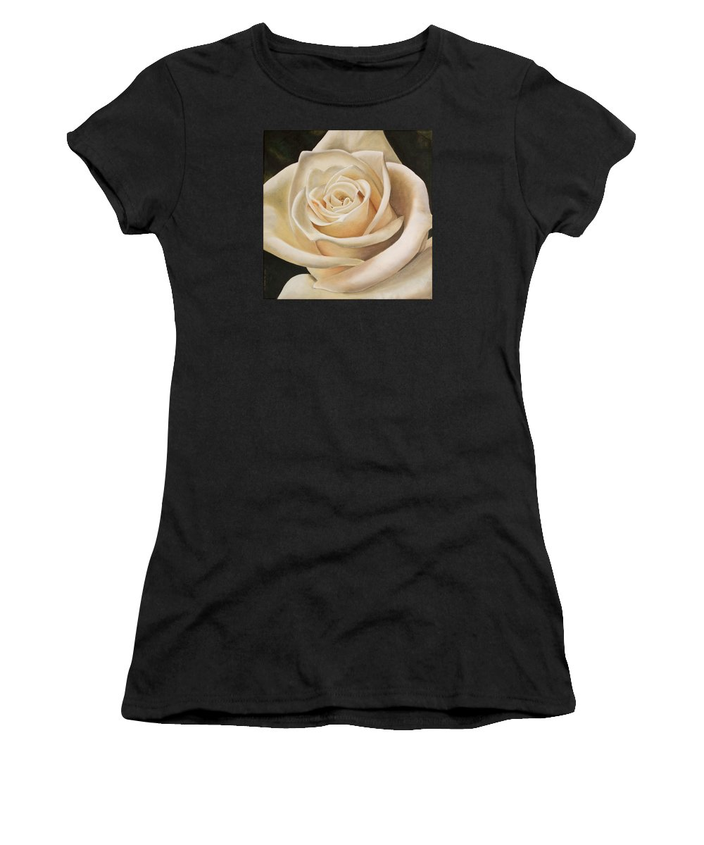 Flower Women's T-Shirt featuring the painting White Rose by Rob De Vries