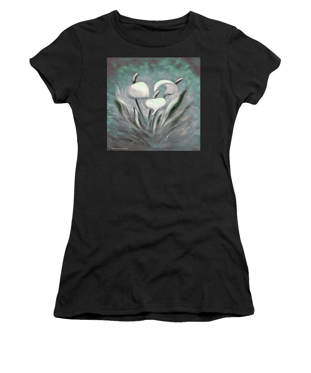 Tropical Women's T-Shirt (Athletic Fit) featuring the painting White Tropical Flowers by Gina De Gorna