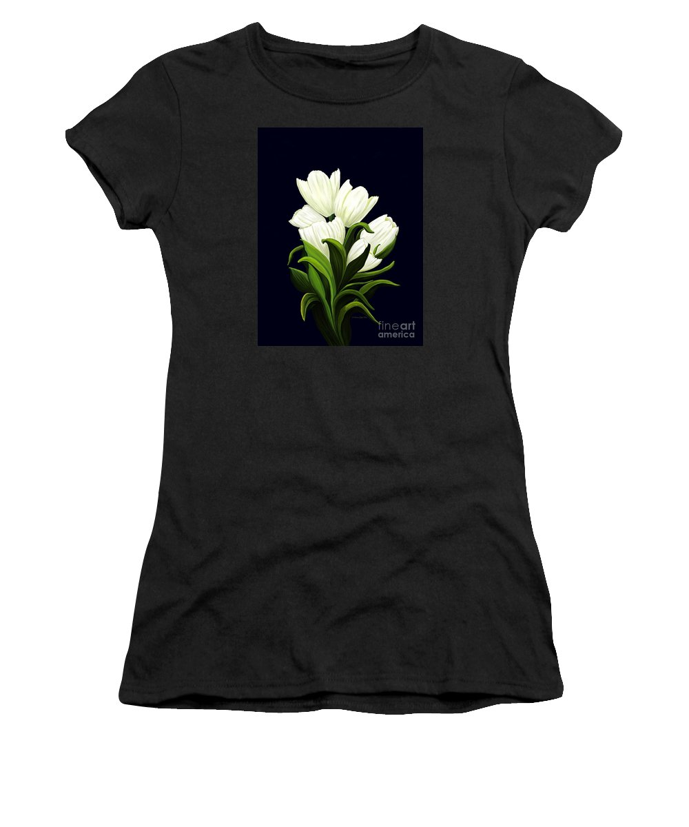 Mixed Media Women's T-Shirt (Athletic Fit) featuring the painting White Tulips by Patricia Griffin Brett