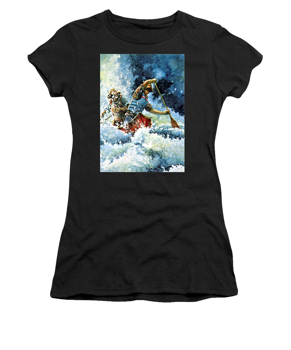 Sports Artist Women's T-Shirt (Athletic Fit) featuring the painting White Water by Hanne Lore Koehler