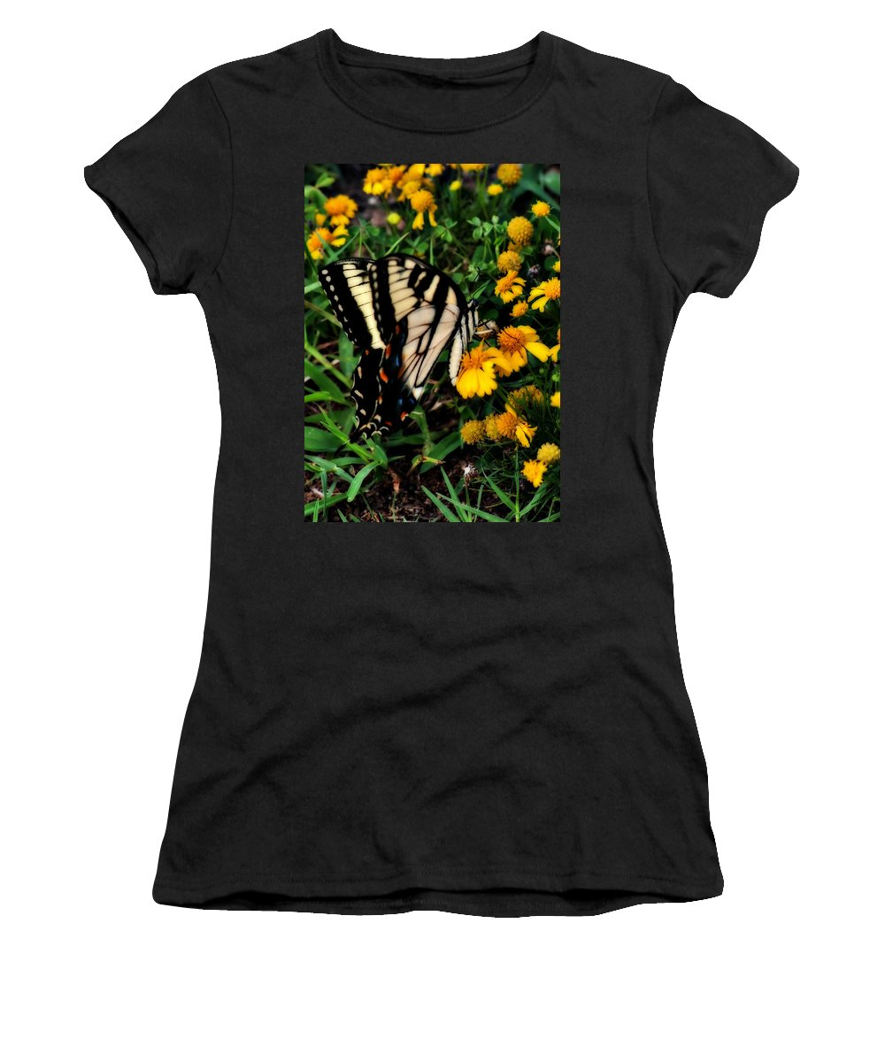 Butterfly Women's T-Shirt (Athletic Fit) featuring the photograph White Wing Butterfly by Gary Adkins