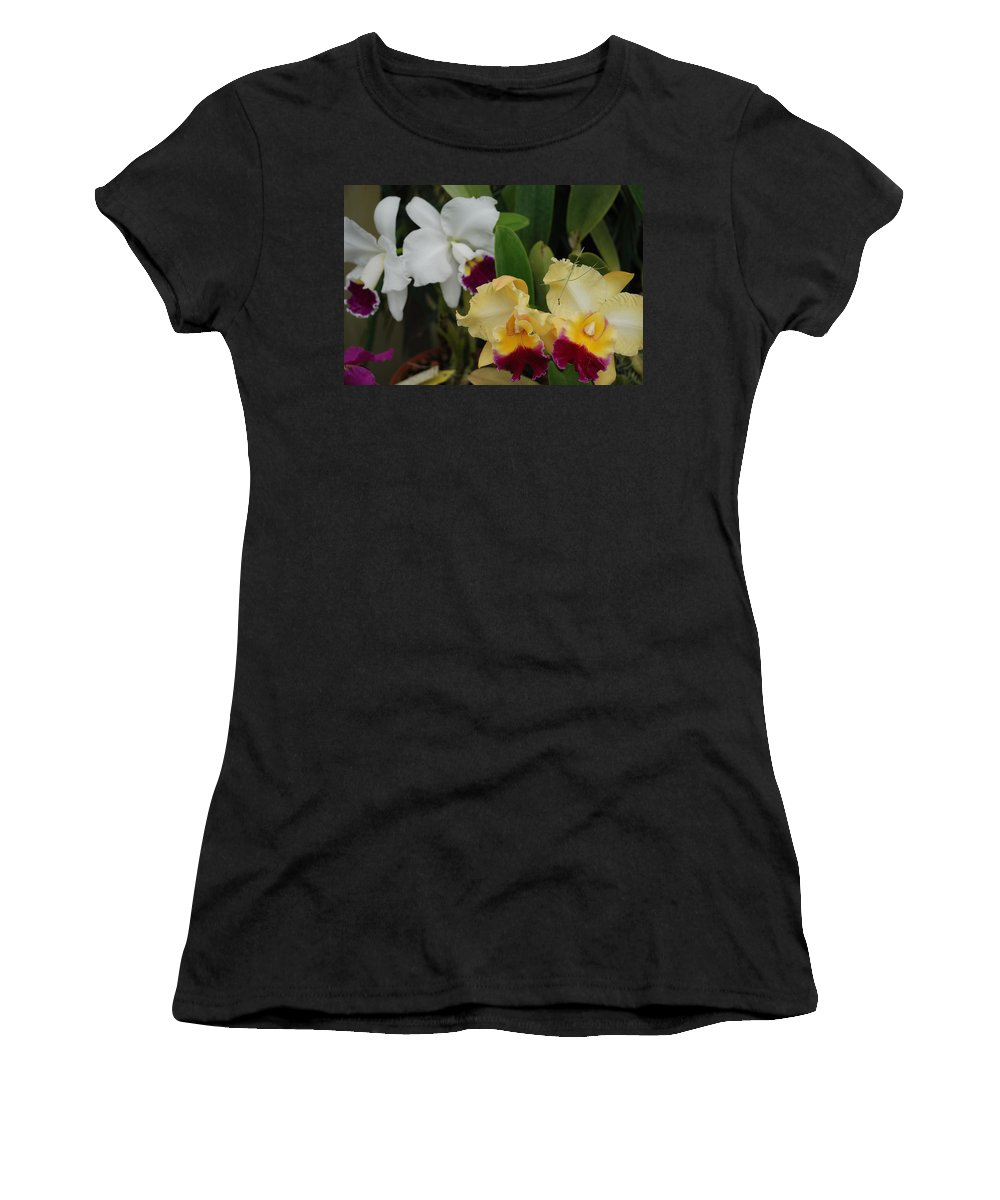 Macro Women's T-Shirt (Athletic Fit) featuring the photograph White Yellow Orchids by Rob Hans