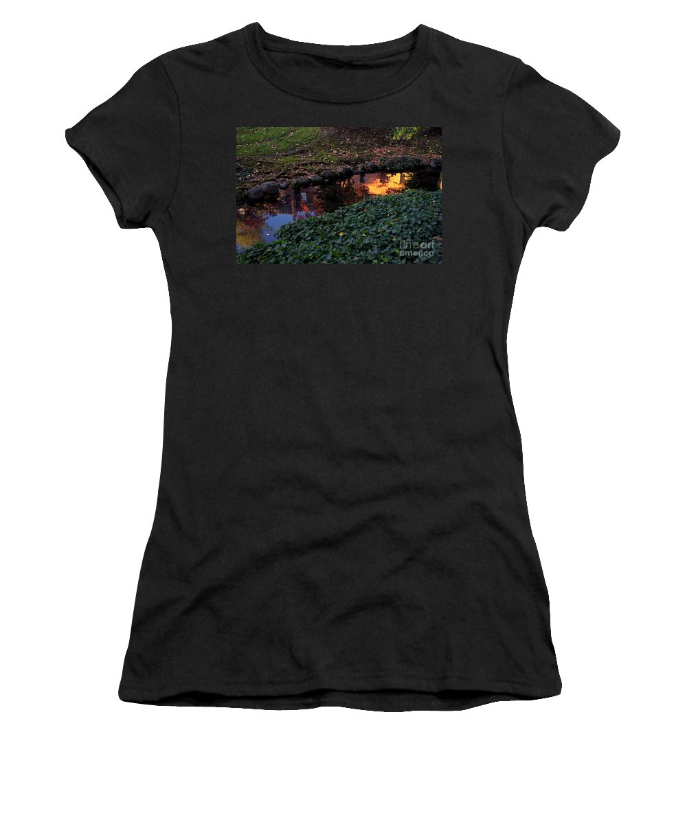 Leaves Women's T-Shirt (Athletic Fit) featuring the photograph Whiteman College Reflection by Karen Goodwin