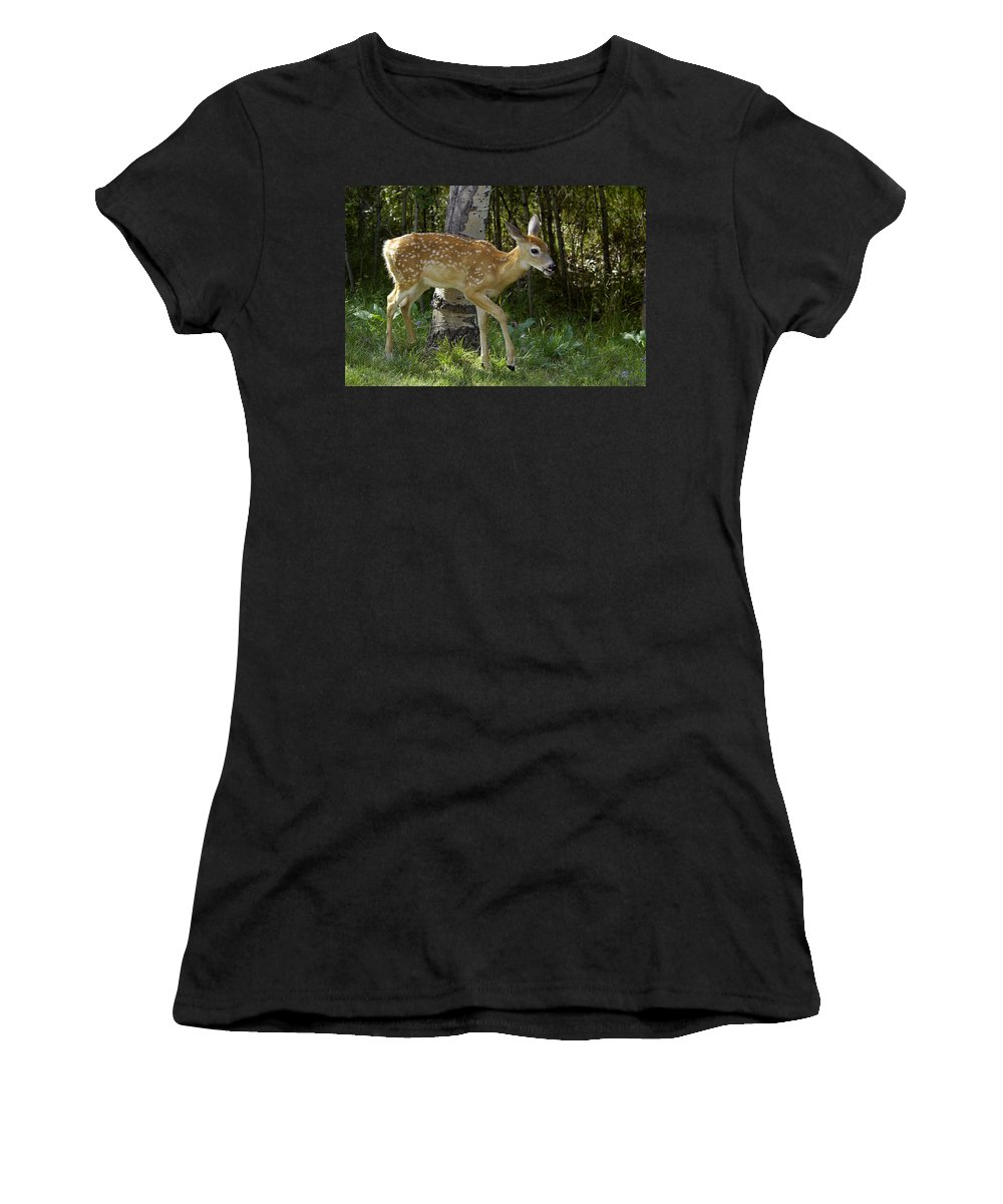 Fawn Women's T-Shirt (Athletic Fit) featuring the photograph Whitetail Fawn by Gary Beeler