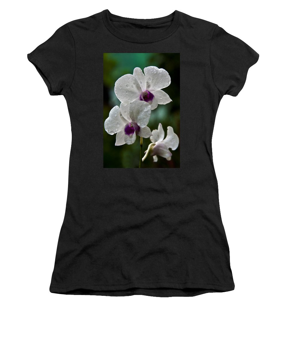 Flower Women's T-Shirt (Athletic Fit) featuring the photograph Whte Orchids by George Cabig