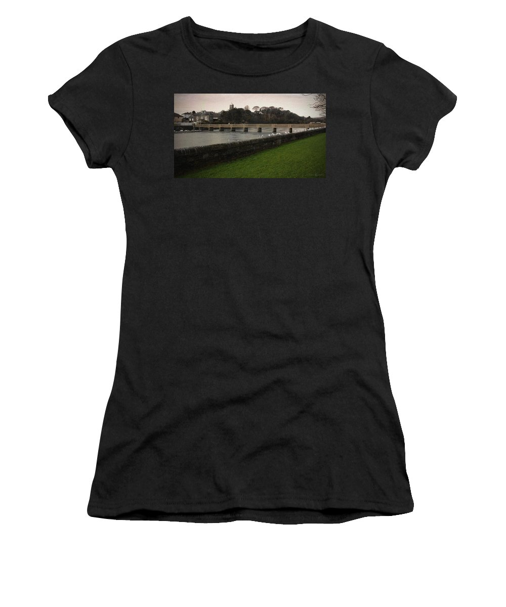 Footbridge Women's T-Shirt (Athletic Fit) featuring the photograph Wicklow Footbridge by Tim Nyberg