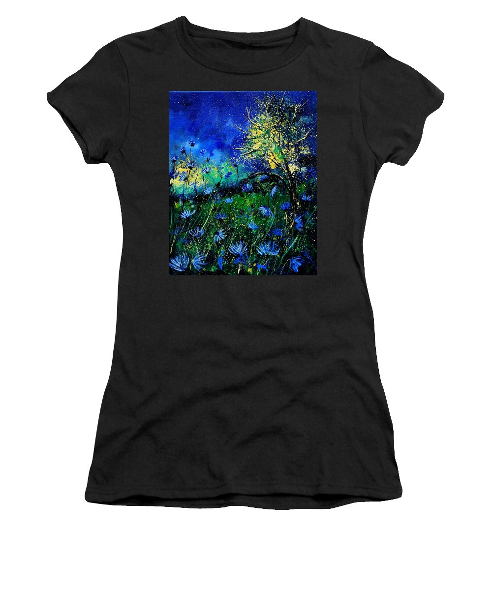 Poppies Women's T-Shirt featuring the painting Wild Chocoree by Pol Ledent