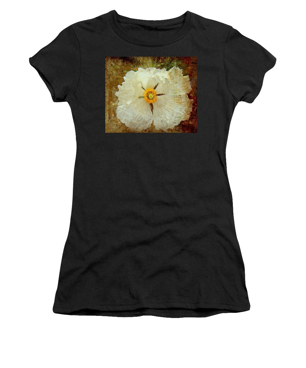 Flowers Women's T-Shirt (Athletic Fit) featuring the photograph Ivory White Wildflower by Kevin Moore