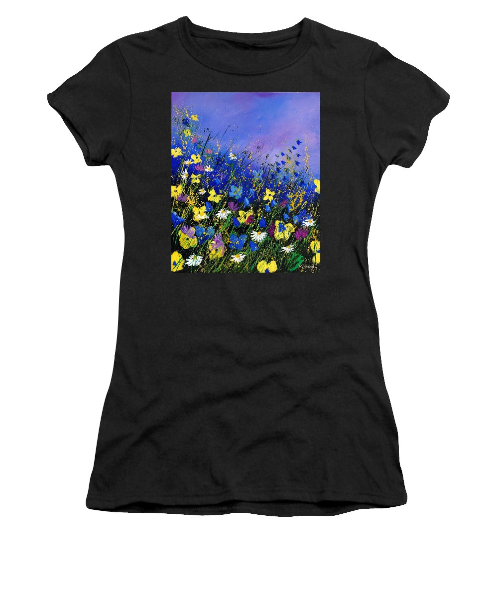 Flowers Women's T-Shirt (Athletic Fit) featuring the painting Wild Flowers 560908 by Pol Ledent