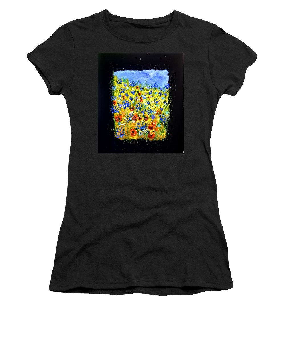 Landscape Women's T-Shirt (Athletic Fit) featuring the painting Wild Flowers 677130 by Pol Ledent