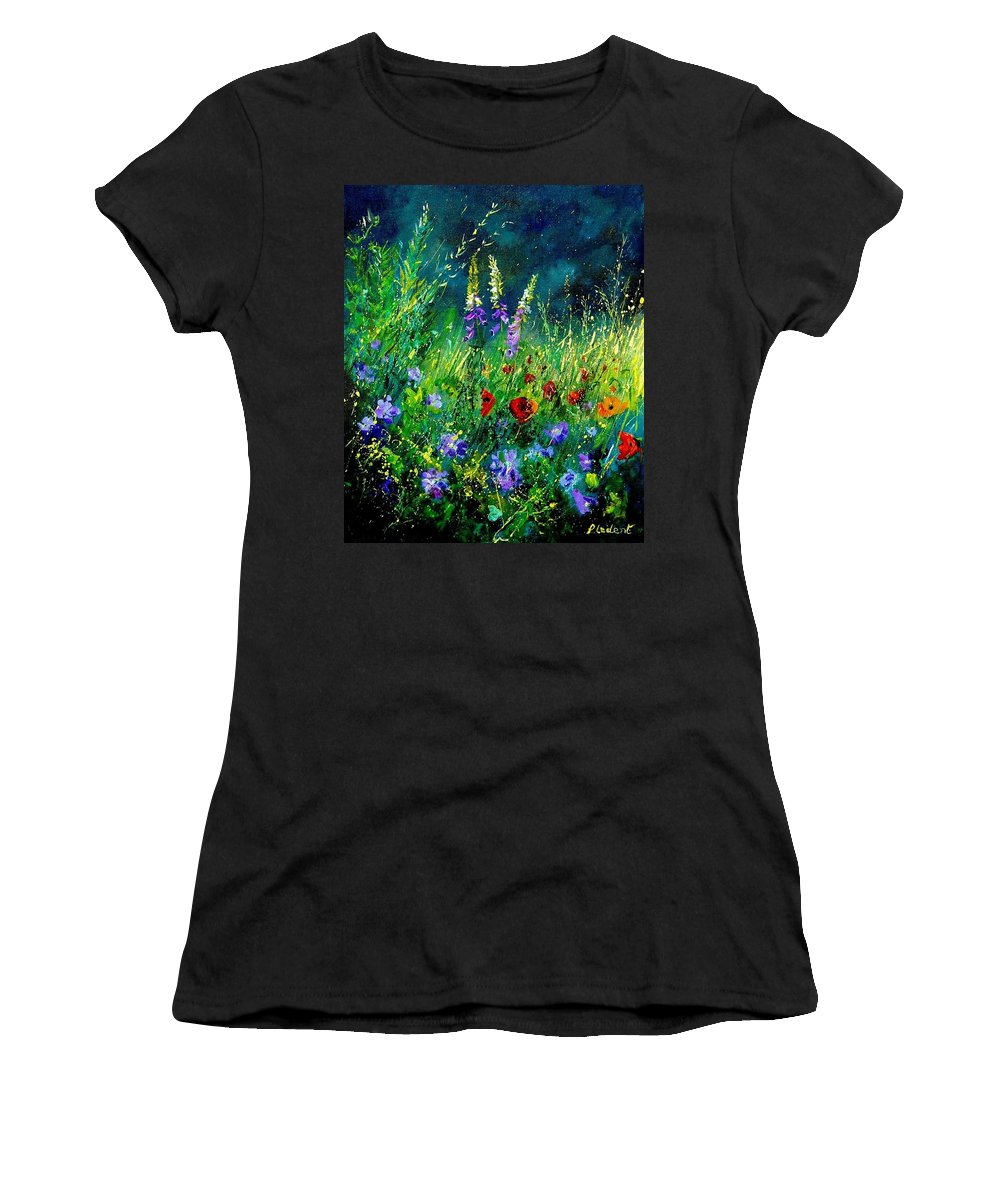 Poppies Women's T-Shirt (Athletic Fit) featuring the painting Wild Flowers by Pol Ledent