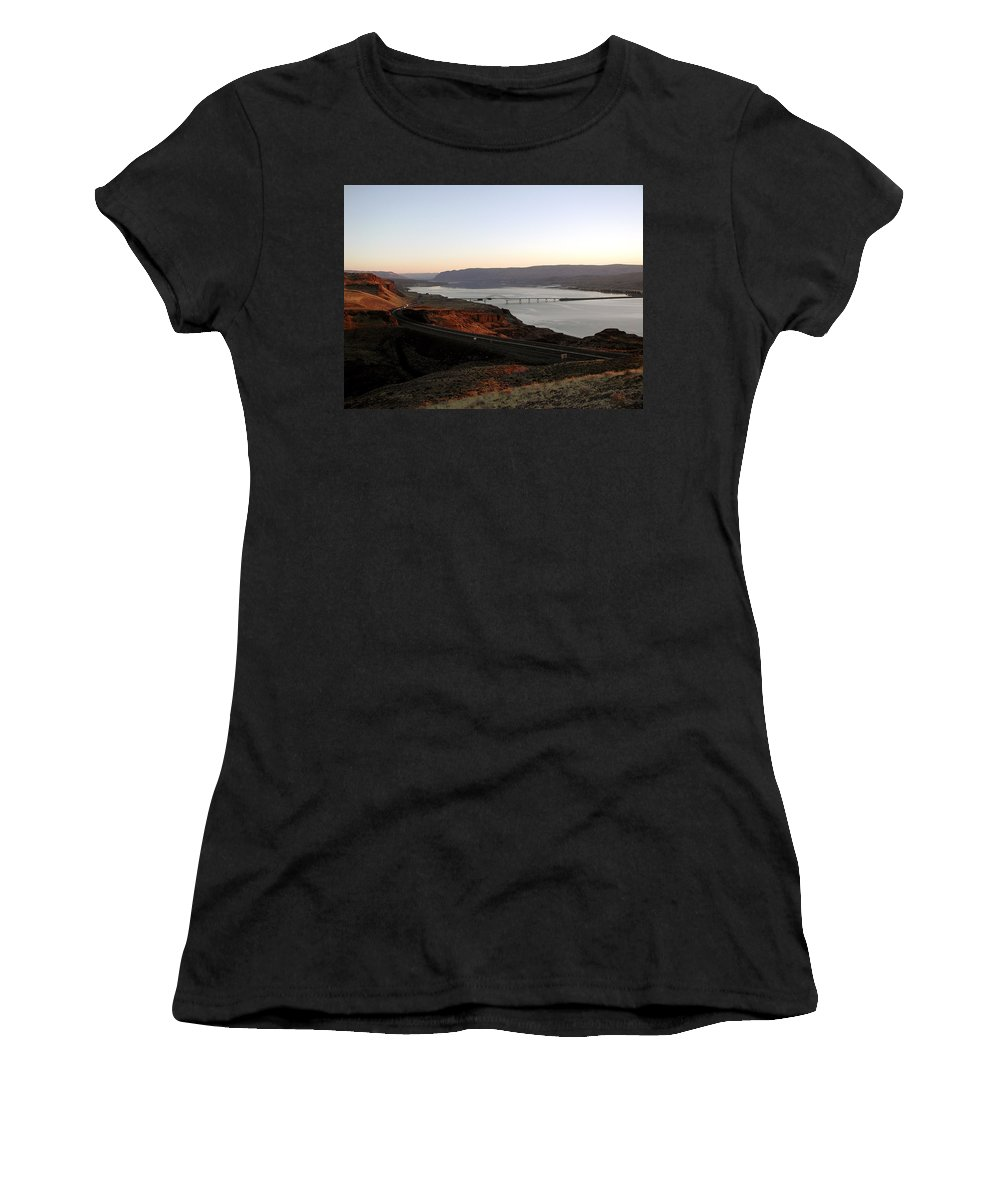 Columbia River Women's T-Shirt (Athletic Fit) featuring the photograph Wild Horse Lookout - Washington by D'Arcy Evans