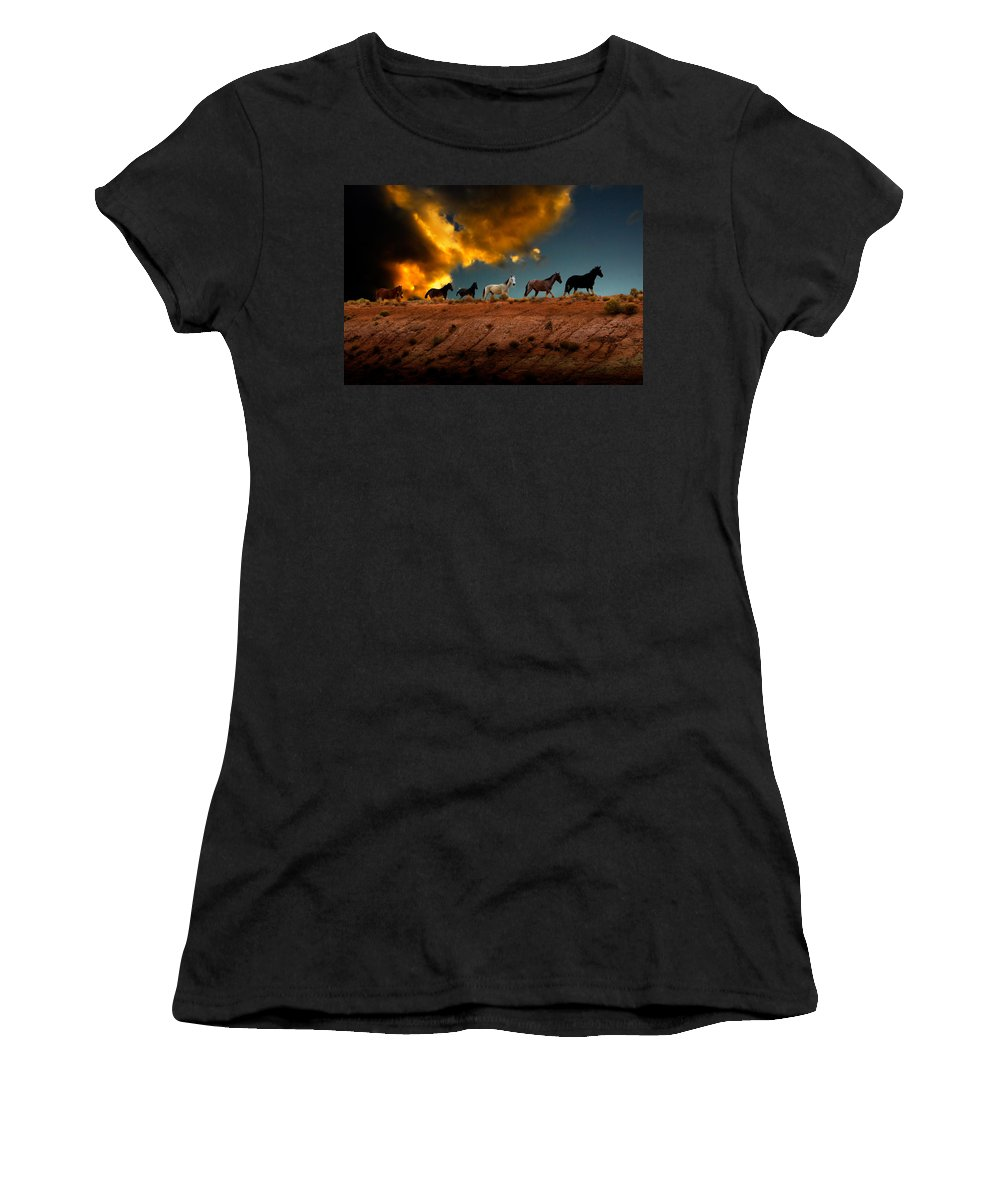 Wild Horses Women's T-Shirt (Athletic Fit) featuring the photograph Wild Horses At Sunset by Harry Spitz