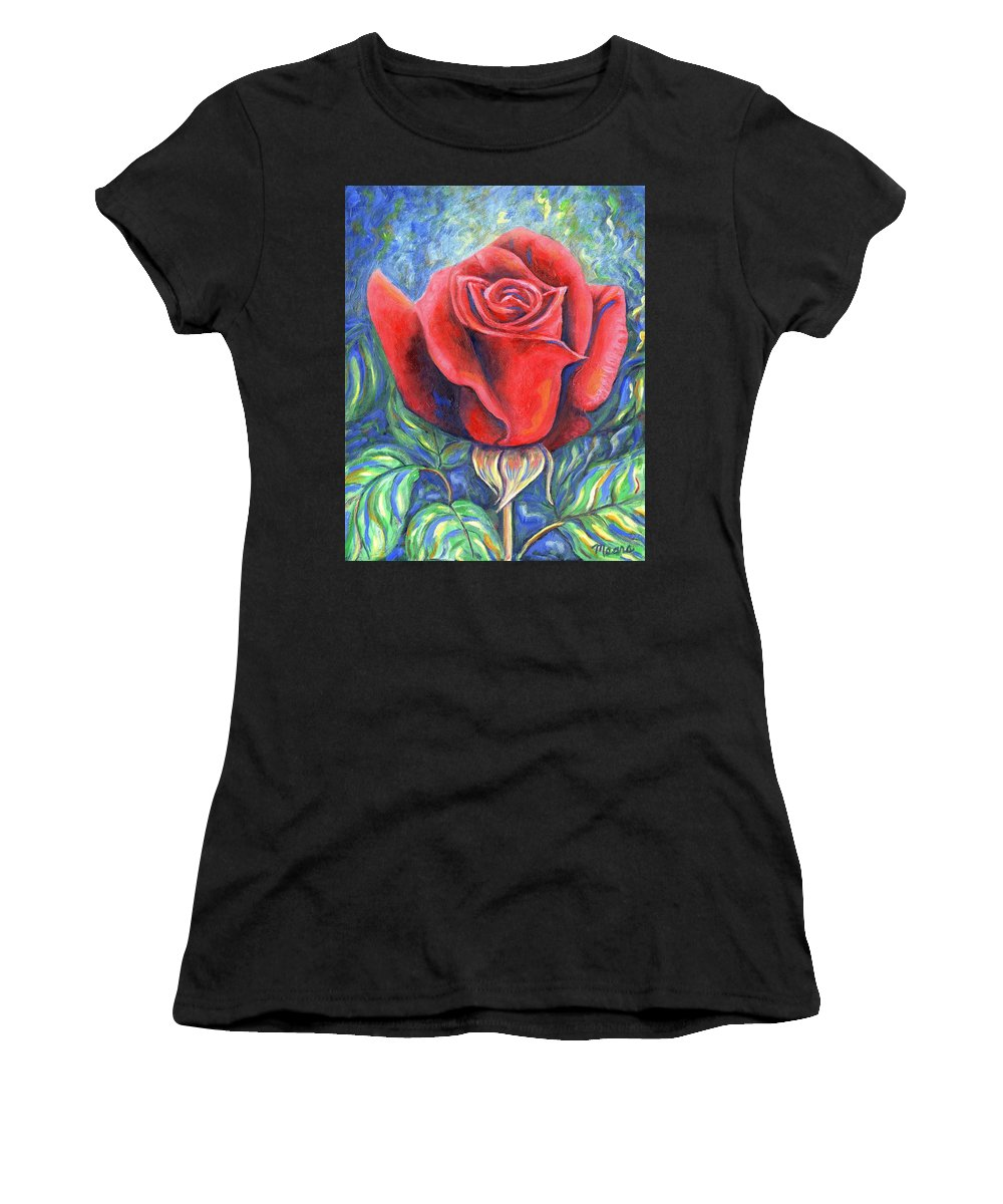Flower Women's T-Shirt (Athletic Fit) featuring the painting Wild Rose One by Linda Mears
