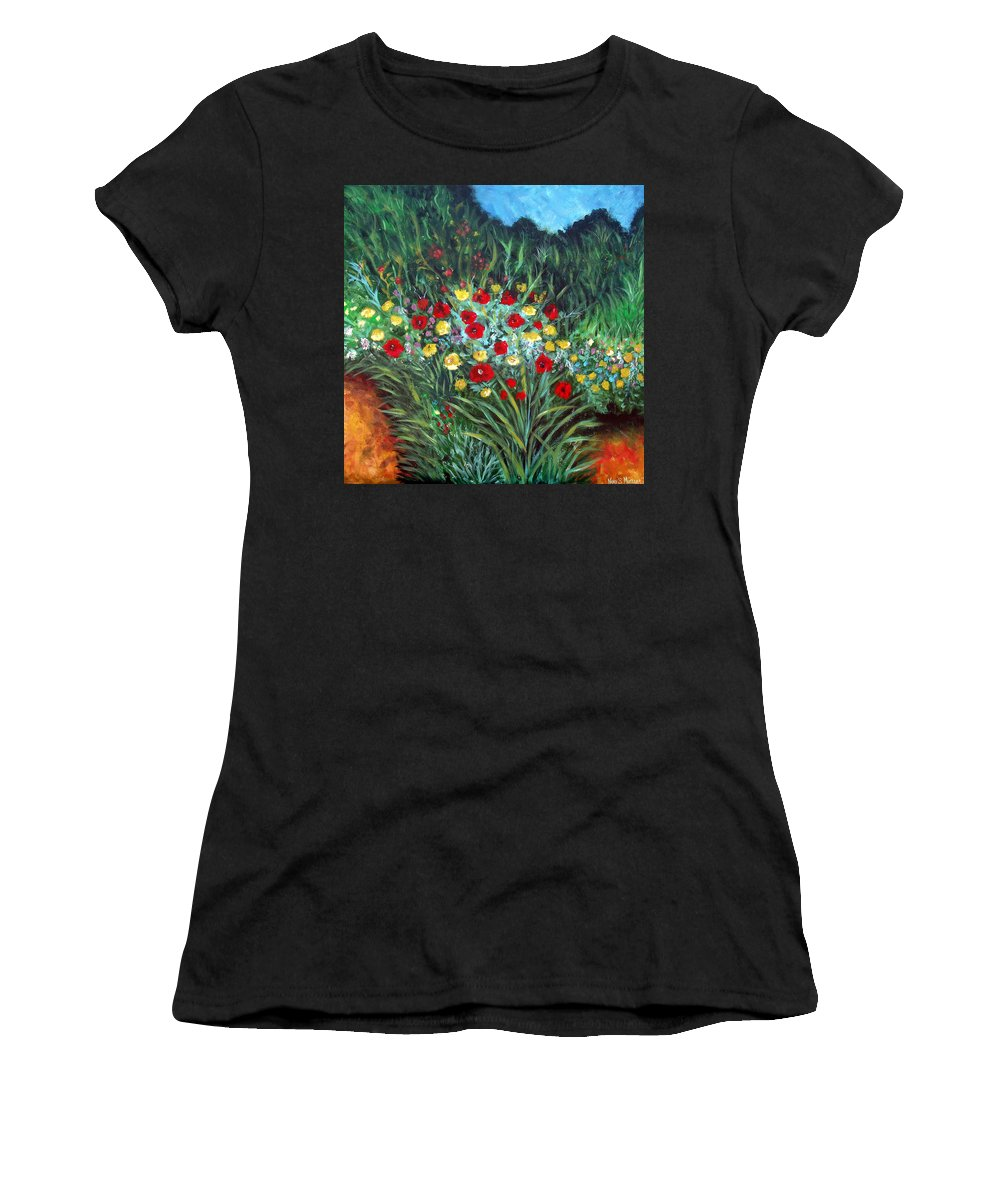 Abstract Women's T-Shirt (Athletic Fit) featuring the painting Wildflower Garden 1 by Nancy Mueller