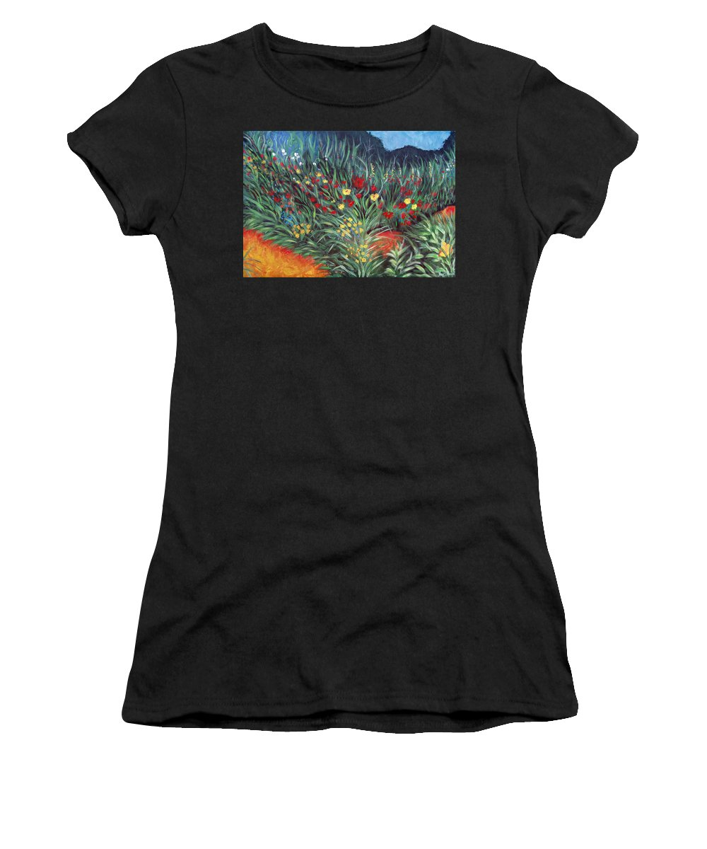 Landscape Women's T-Shirt (Athletic Fit) featuring the painting Wildflower Garden 2 by Nancy Mueller