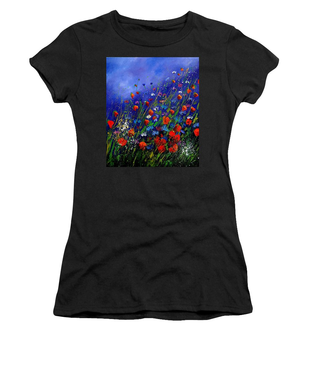 Poppies Women's T-Shirt (Athletic Fit) featuring the painting Wildflowers 78 by Pol Ledent