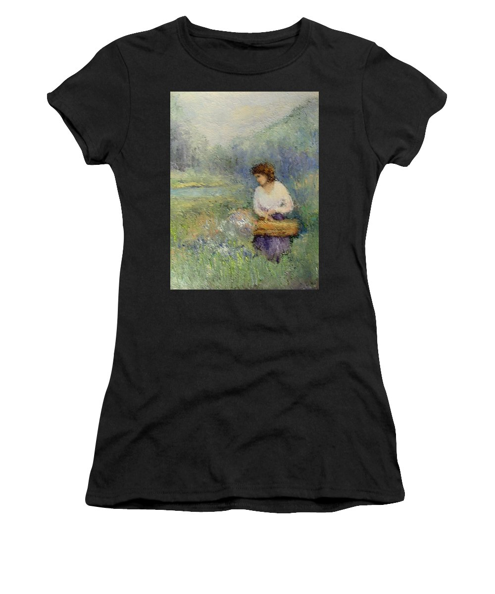 Woman Women's T-Shirt featuring the painting Wildflowers by Gail Kirtz