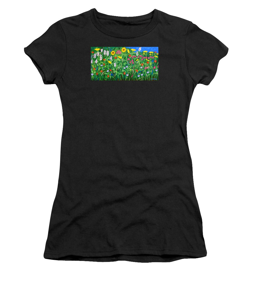 Wildflowers Painting Women's T-Shirt (Athletic Fit) featuring the painting Wildflowers by J Loren Reedy