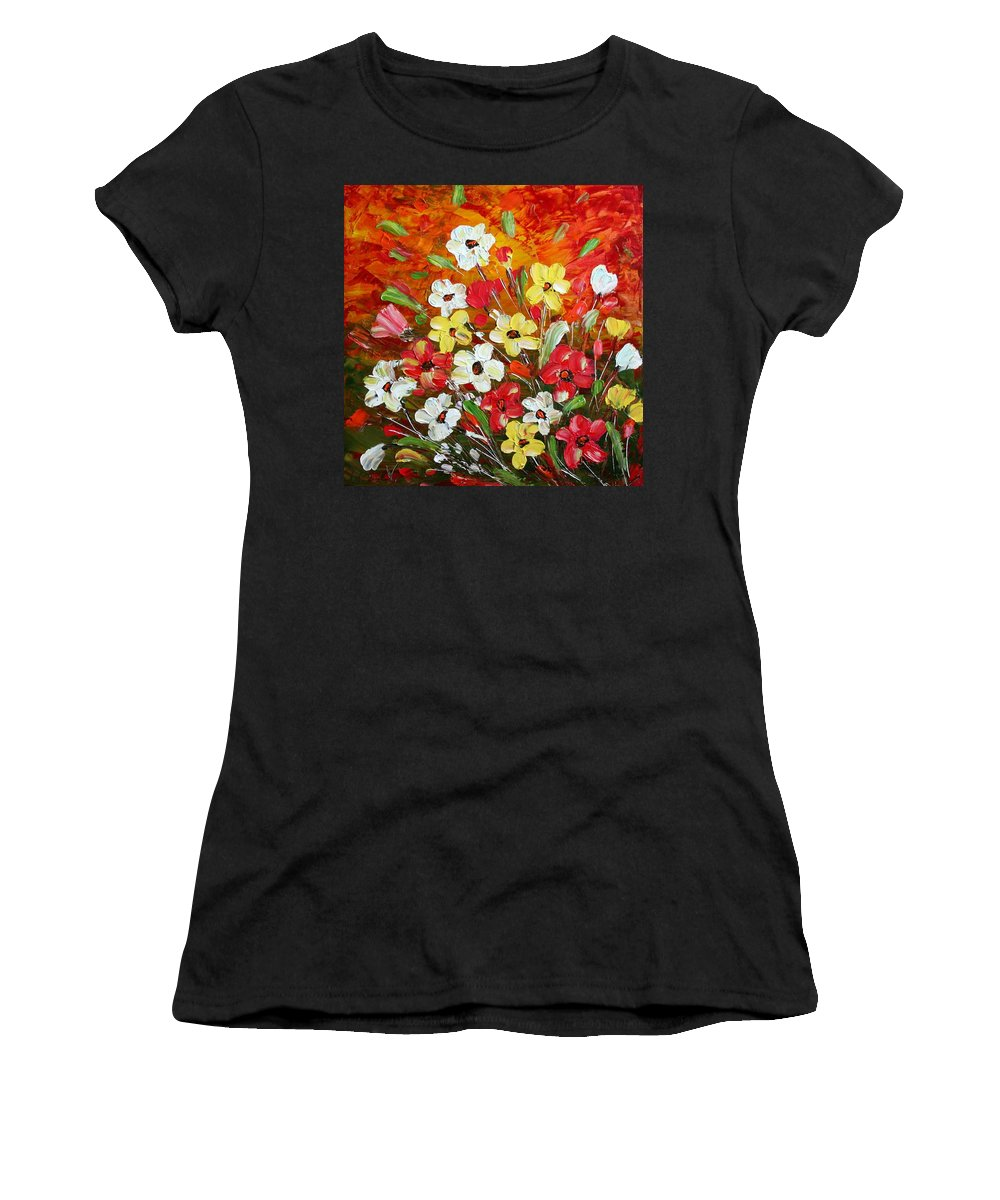 Flowers Women's T-Shirt featuring the painting Wildflowers by Luiza Vizoli