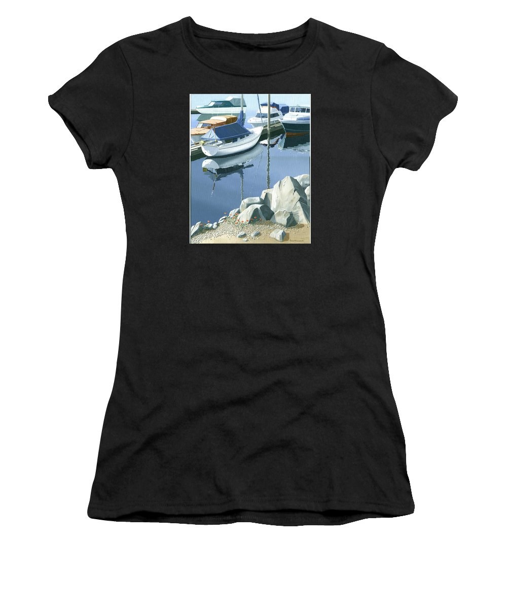 Sailboat Women's T-Shirt (Athletic Fit) featuring the painting Wildflowers On The Breakwater by Gary Giacomelli