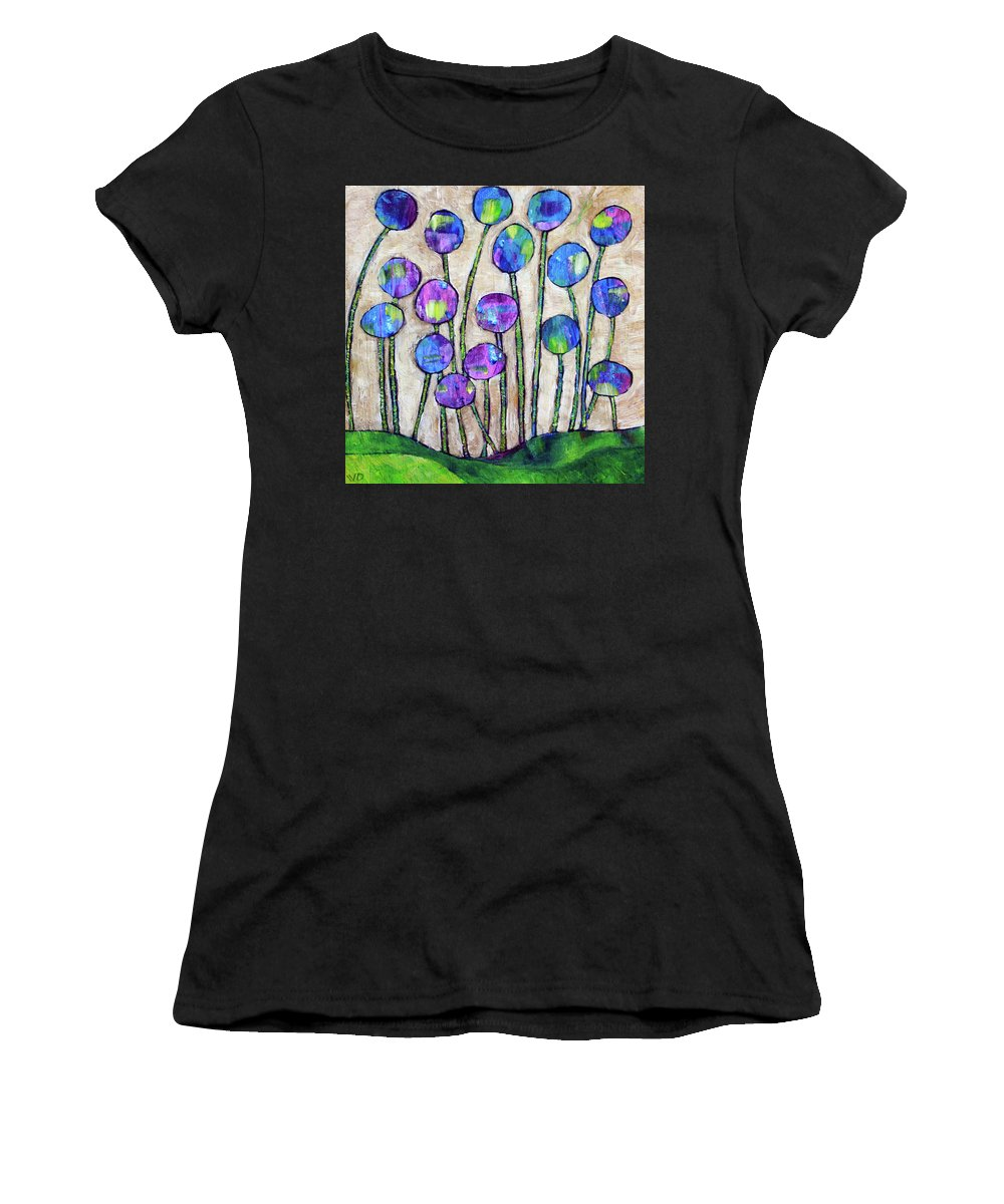 Flowers Women's T-Shirt (Athletic Fit) featuring the painting Wildflowers by Winona D