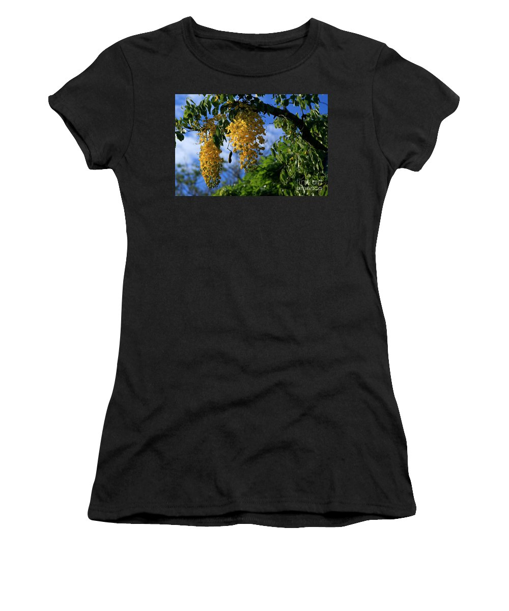 Aloha Women's T-Shirt (Athletic Fit) featuring the photograph Wilhelmina Tenney Rainbow Shower Tree Makawao Maui Flowering Trees Of Hawaii by Sharon Mau
