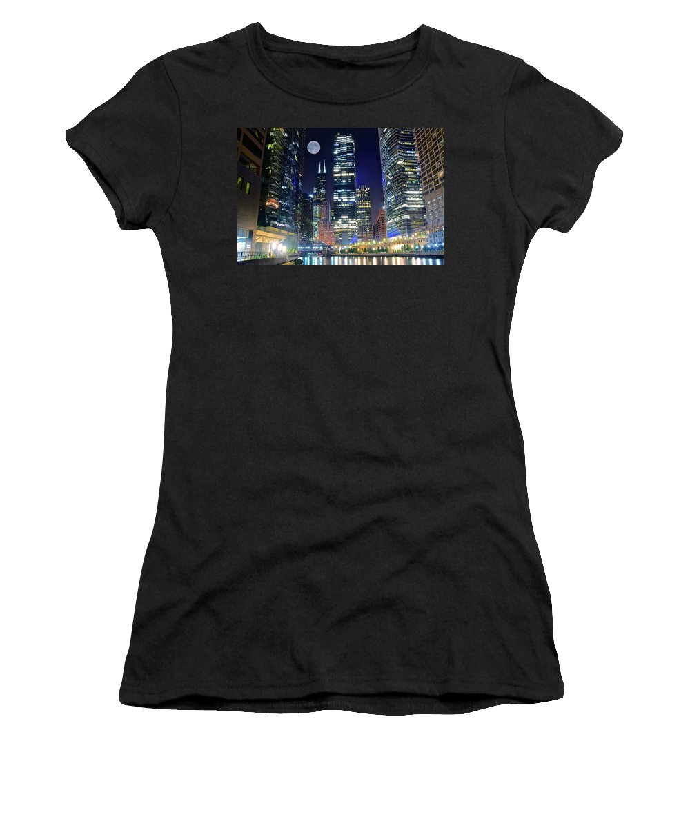 Chicago Women's T-Shirt featuring the photograph Willis Tower And Moon by Skyline Photos of America
