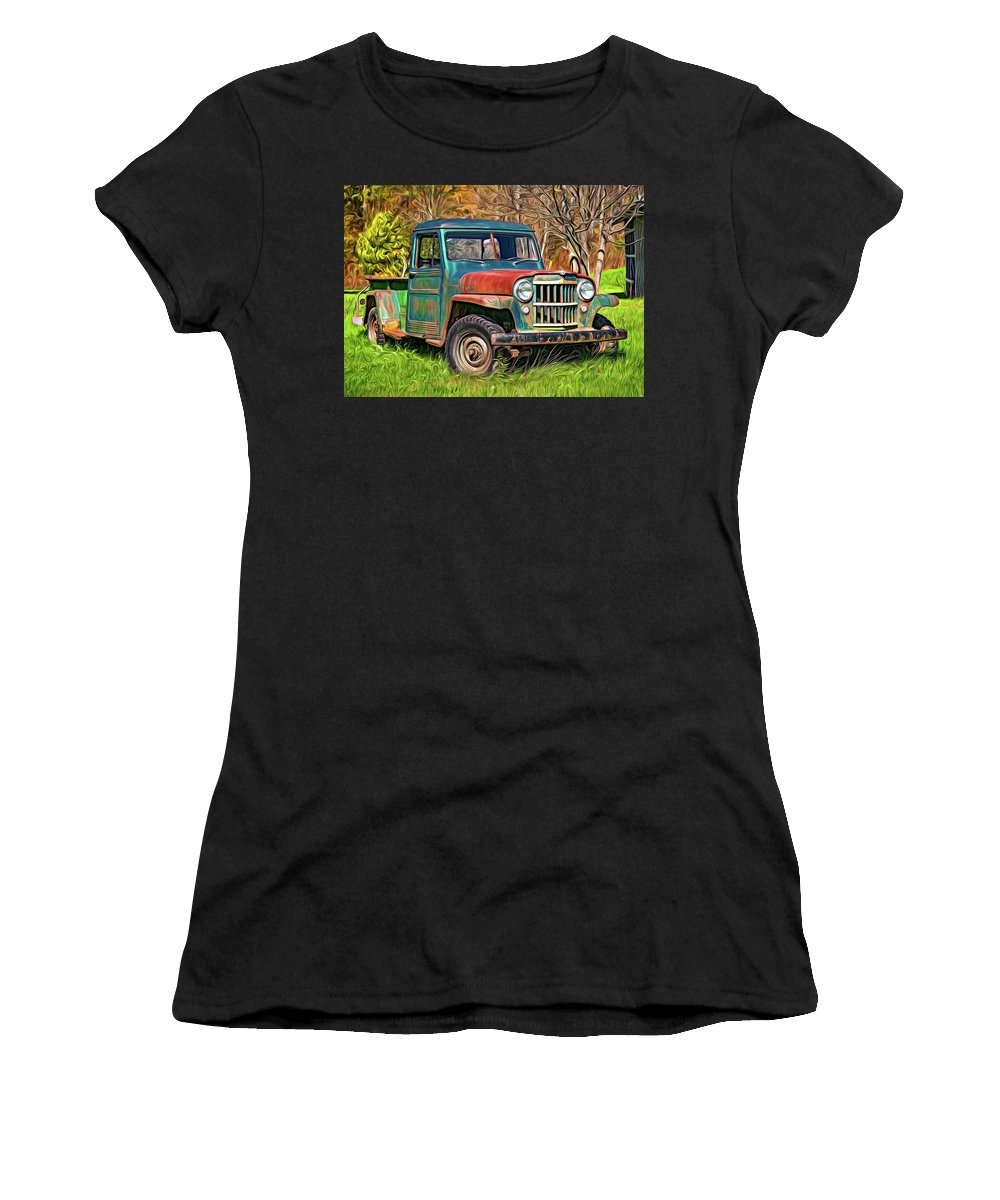 Vehicle Women's T-Shirt featuring the photograph Willys Jeep Pickup Truck 2 - Paint by Steve Harrington