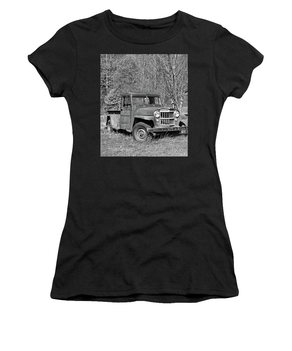 Vehicle Women's T-Shirt featuring the photograph Willys Jeep Pickup Truck Monochrome by Steve Harrington
