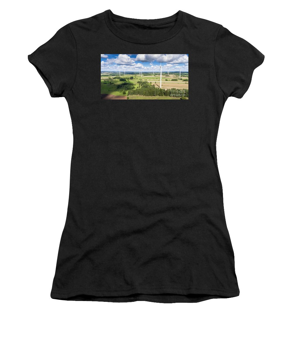 Copter Women's T-Shirt (Athletic Fit) featuring the photograph Wind Turbines In Suwalki. Poland. View From Above. Summer Time. by Mariusz Prusaczyk