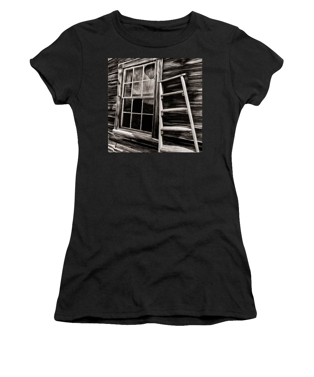 Women's T-Shirt featuring the photograph Window And Ladder by Blake Richards
