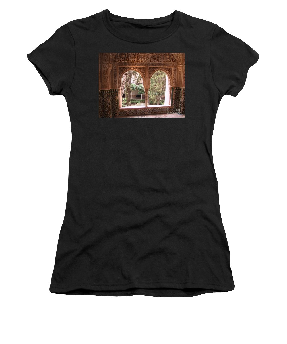 Window Women's T-Shirt (Athletic Fit) featuring the photograph Window In La Alhambra by Thomas Marchessault