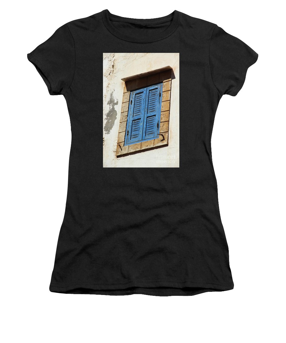Morocco Women's T-Shirt featuring the photograph Window In Moroccan Blue by Hilary Emberton