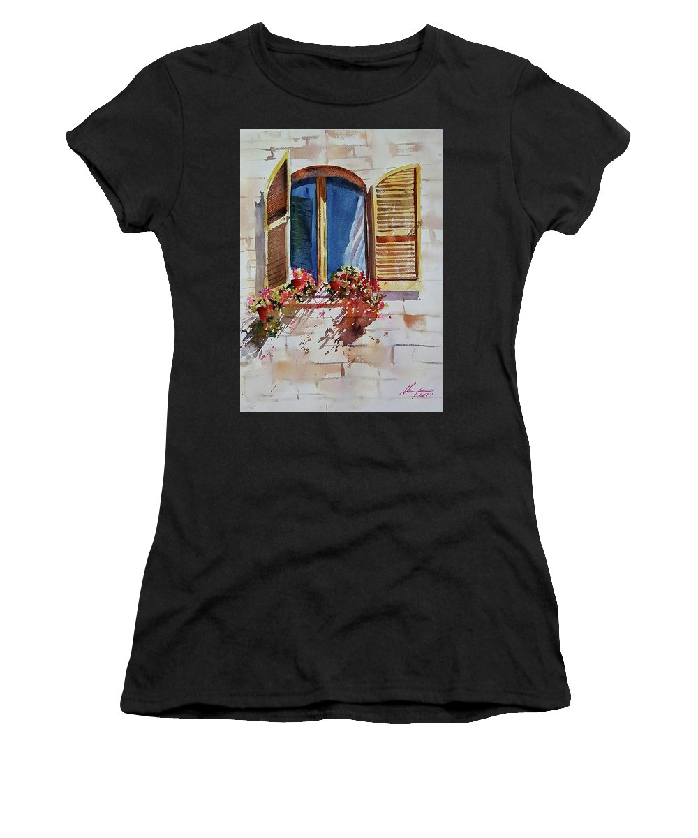 Window Women's T-Shirt (Athletic Fit) featuring the painting Window by Shaima Adnan