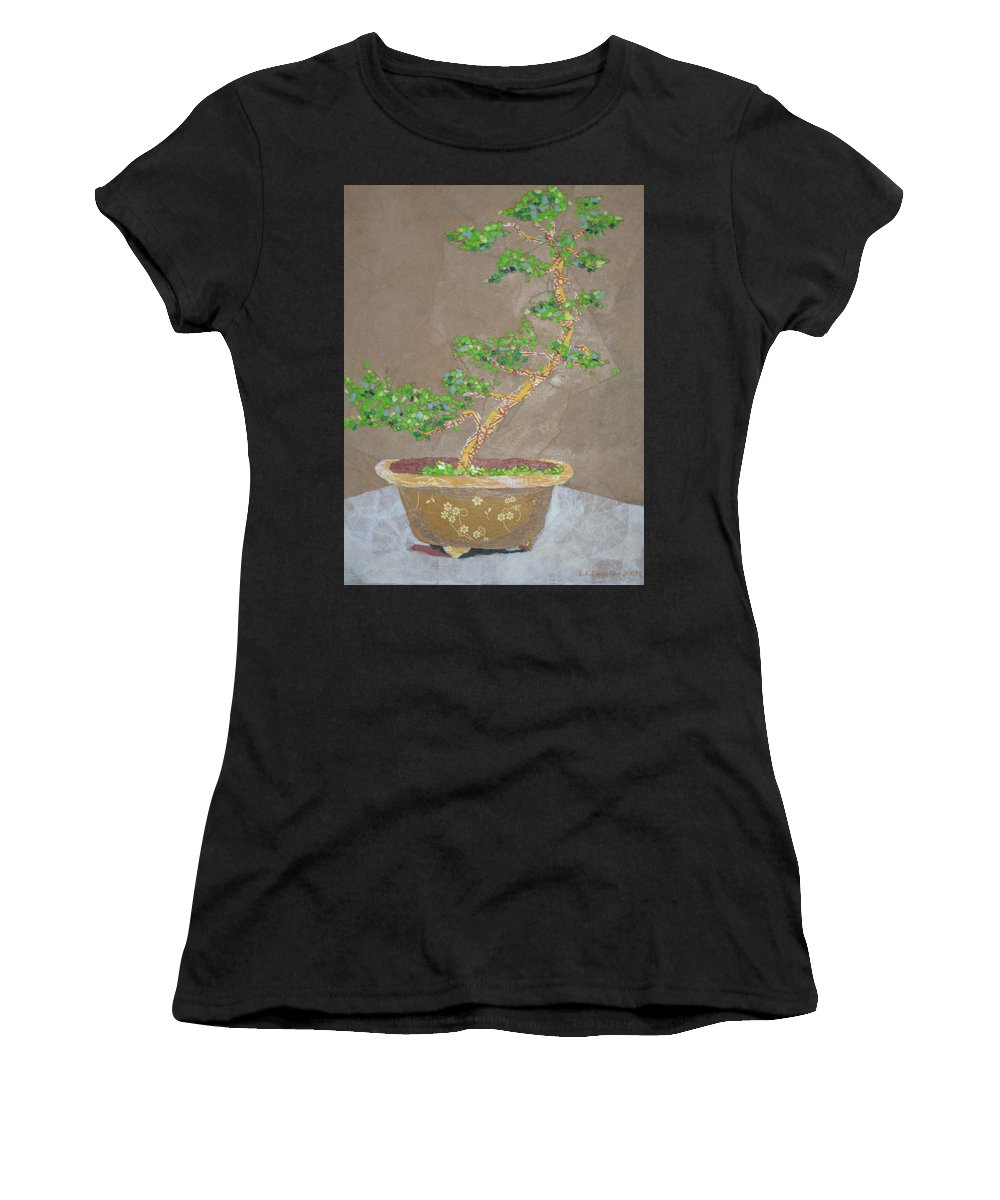 Banzai Tree Women's T-Shirt (Athletic Fit) featuring the painting Windswept Juniper by Leah Tomaino