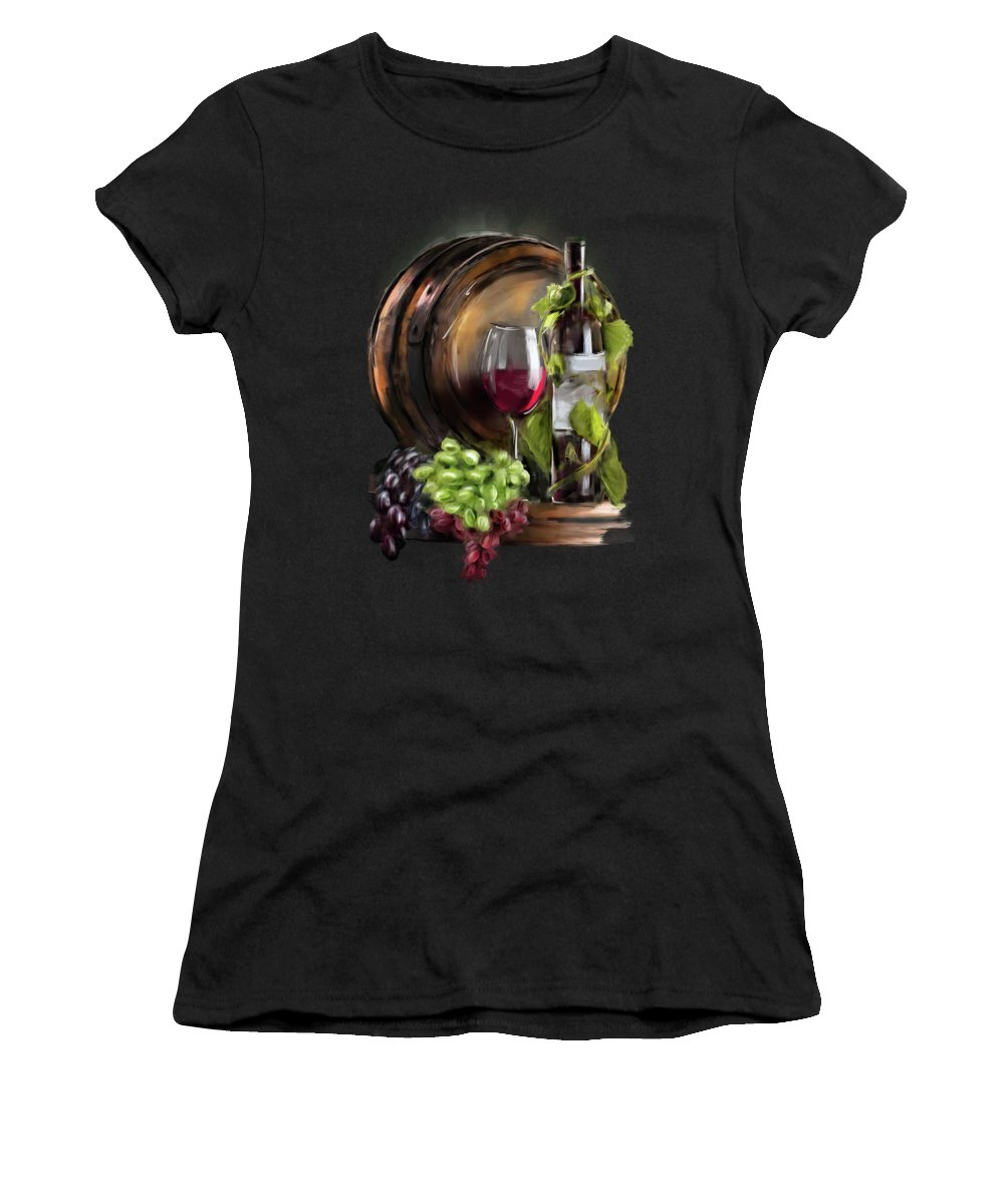 Wine Women's T-Shirt featuring the painting Wine Cellar by Melanie D