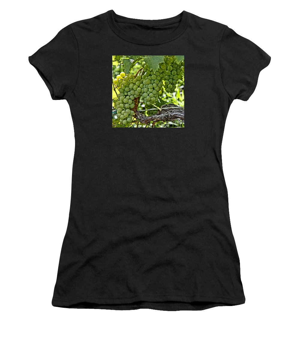 Square Women's T-Shirt featuring the photograph Wine Grapes by DJ Florek