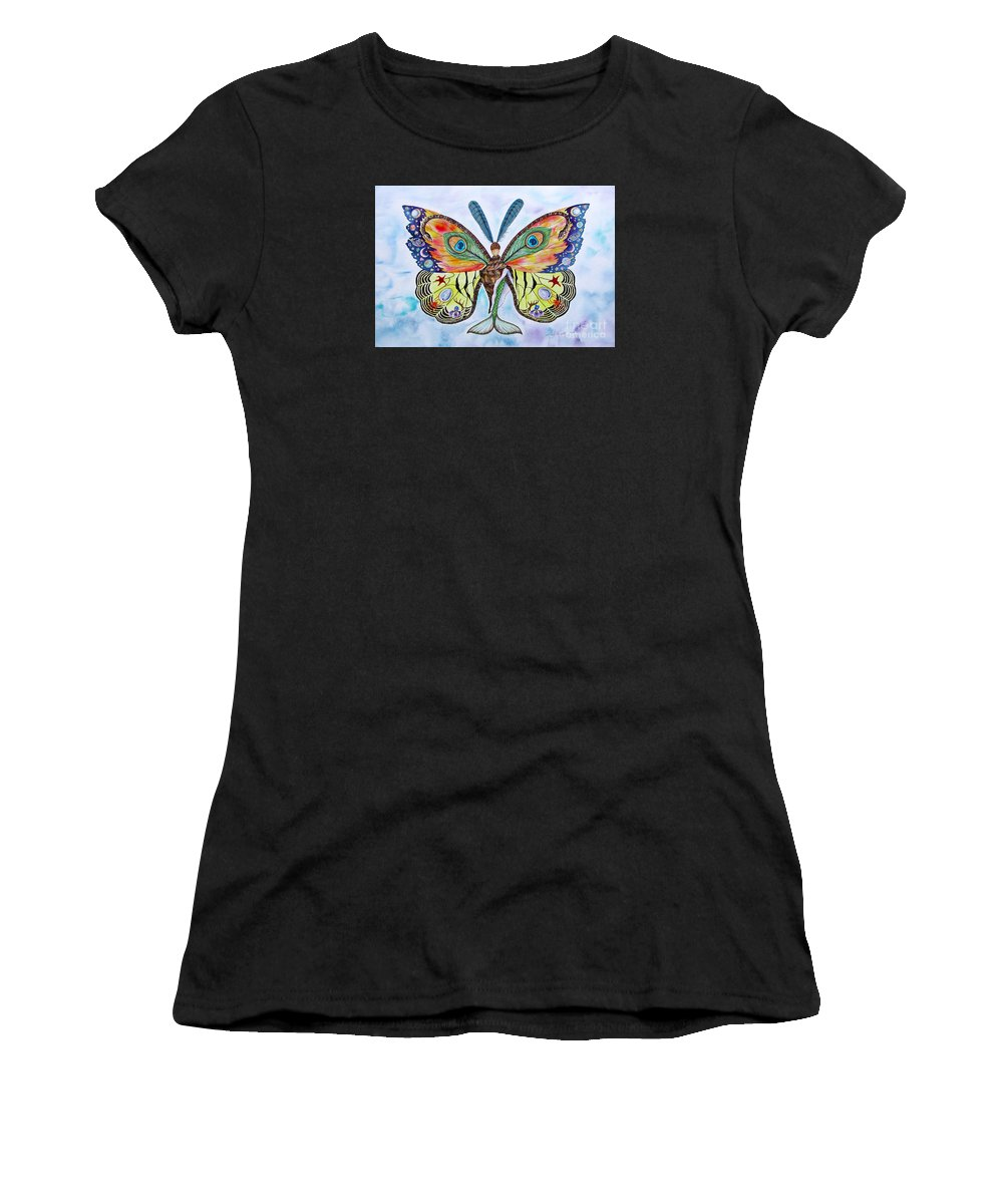 Butterfly Women's T-Shirt (Athletic Fit) featuring the painting Winged Metamorphosis by Lucy Arnold