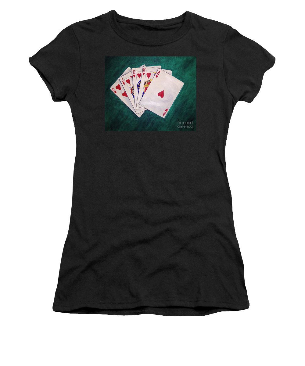 Playing Cards Wining Hand Role Flush Women's T-Shirt (Athletic Fit) featuring the painting Wining Hand 2 by Herschel Fall