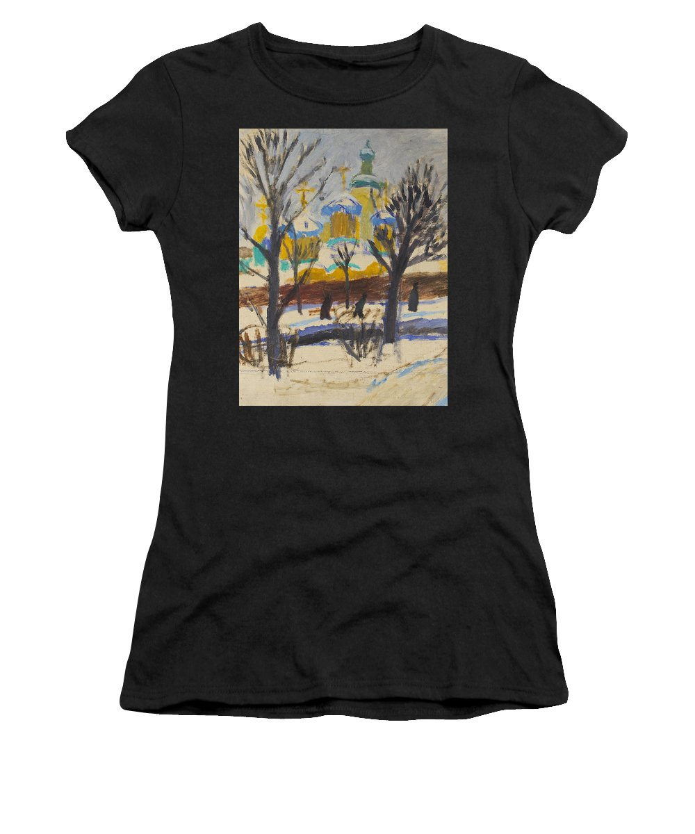 Temple Women's T-Shirt (Athletic Fit) featuring the painting Winter 1 by Robert Nizamov