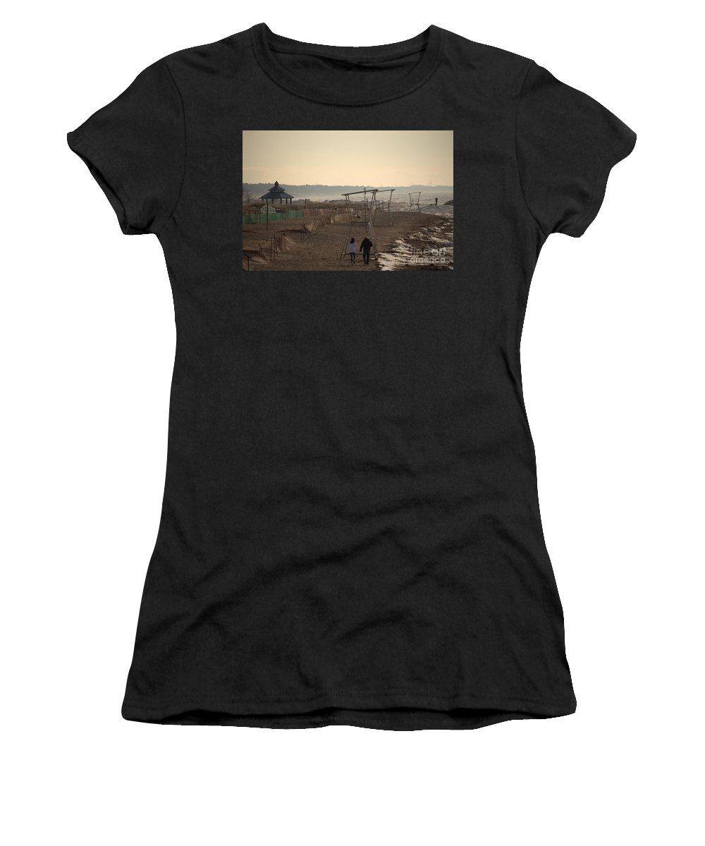 Grand Bend Women's T-Shirt (Athletic Fit) featuring the photograph Winter Calm 2 by John Scatcherd