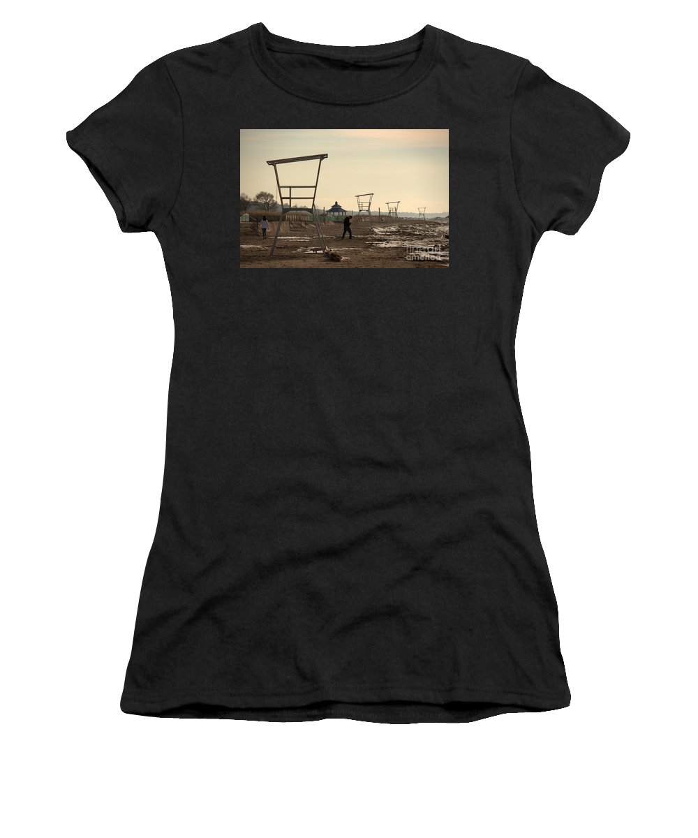 Grand Bend Women's T-Shirt (Athletic Fit) featuring the photograph Winter Calm by John Scatcherd