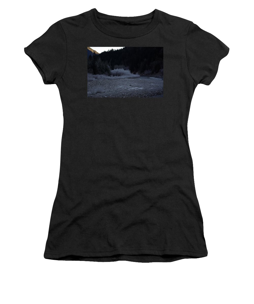 Winter Women's T-Shirt (Athletic Fit) featuring the photograph Winter Creek by Cindy Johnston